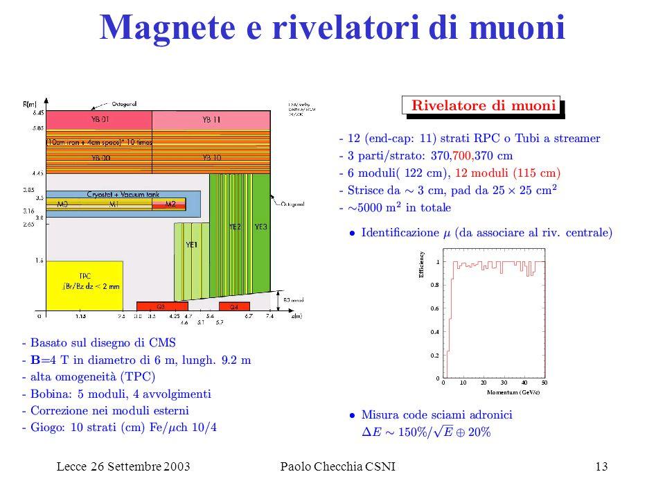 Lecce 26 Settembre 2003Paolo Checchia CSNI13 Magnete e rivelatori di muoni