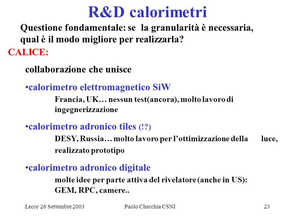 Lecce 26 Settembre 2003Paolo Checchia CSNI23 R&D calorimetri CALICE: collaborazione che unisce calorimetro elettromagnetico SiW Francia, UK… nessun te