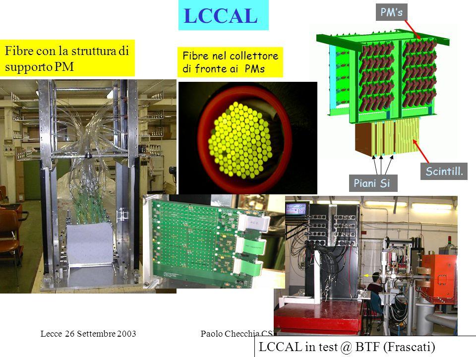 Lecce 26 Settembre 2003Paolo Checchia CSNI27 PM's Scintill. Piani Si Fibre con la struttura di supporto PM LCCAL in test @ BTF (Frascati) Fibre nel co