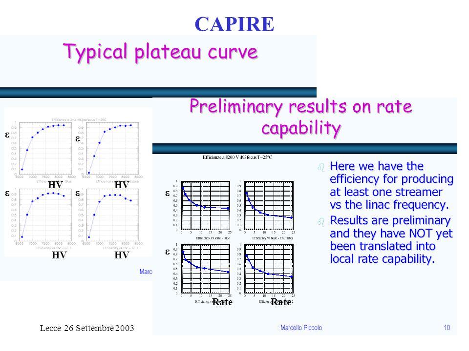 Lecce 26 Settembre 2003Paolo Checchia CSNI32 CAPIRE HV     Rate