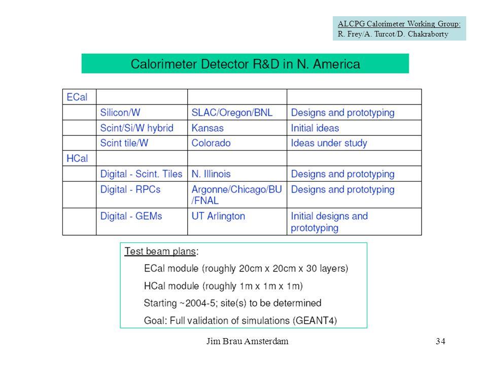 Jim Brau Amsterdam34 Calorimeter Detector R&D in N. America ALCPG Calorimeter Working Group: R. Frey/A. Turcot/D. Chakraborty