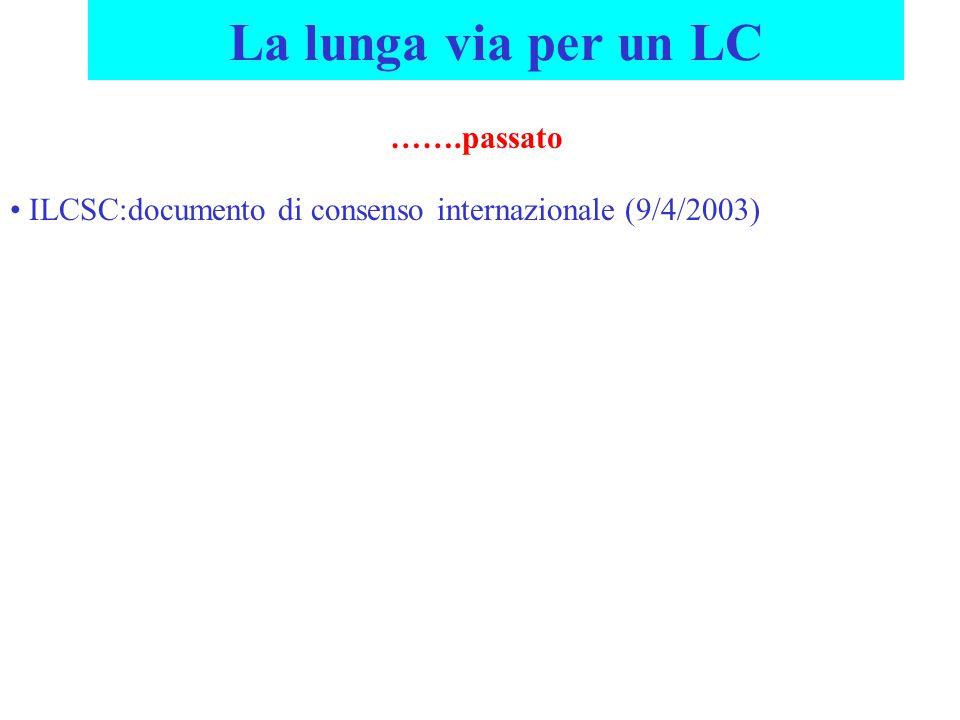 La lunga via per un LC …….passato ILCSC:documento di consenso internazionale (9/4/2003)