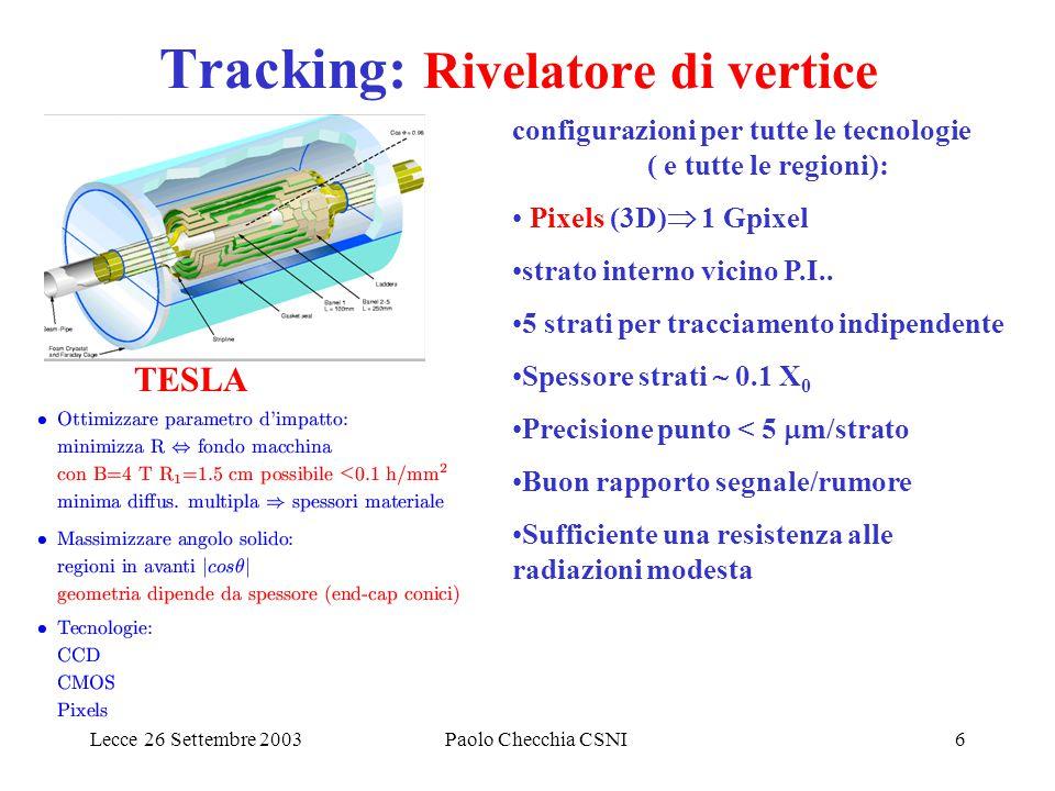 Lecce 26 Settembre 2003Paolo Checchia CSNI6 Tracking: Rivelatore di vertice TESLA configurazioni per tutte le tecnologie ( e tutte le regioni): Pixels