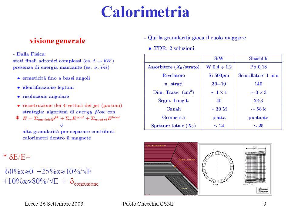 Lecce 26 Settembre 2003Paolo Checchia CSNI9 Calorimetria visione generale * *  E/E= 60%x  0 +25%x  10%/  E +10%x  80%/  E +  confusione