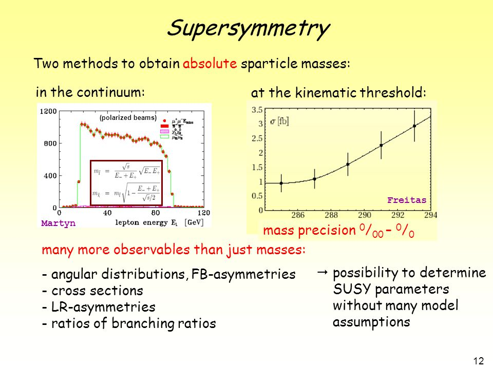 12 Supersymmetry Two methods to obtain absolute sparticle masses: in the continuum: at the kinematic threshold: many more observables than just masses: - angular distributions, FB-asymmetries - cross sections - LR-asymmetries - ratios of branching ratios mass precision 0 / 00 – 0 / 0  possibility to determine SUSY parameters without many model assumptions Martyn Freitas (polarized beams)