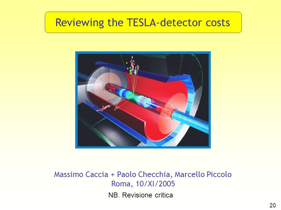 20 Reviewing the TESLA-detector costs Massimo Caccia + Paolo Checchia, Marcello Piccolo Roma, 10/XI/2005 NB. Revisione critica