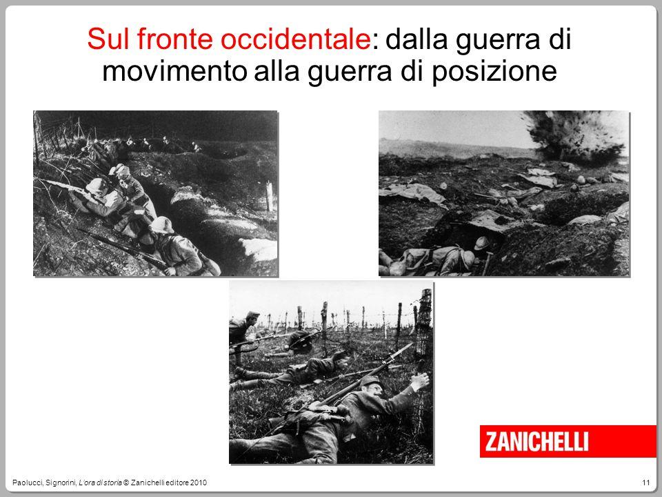 11Paolucci, Signorini, L'ora di storia © Zanichelli editore 2010 Sul fronte occidentale: dalla guerra di movimento alla guerra di posizione