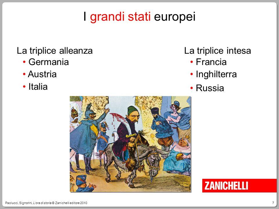 7Paolucci, Signorini, L'ora di storia © Zanichelli editore 2010 I grandi stati europei La triplice alleanza Germania Austria Italia La triplice intesa