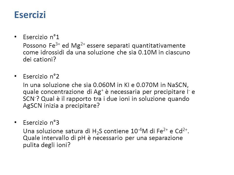 Esercizi Esercizio n°1 Possono Fe 3+ ed Mg 2+ essere separati quantitativamente come idrossidi da una soluzione che sia 0.10M in ciascuno dei cationi.