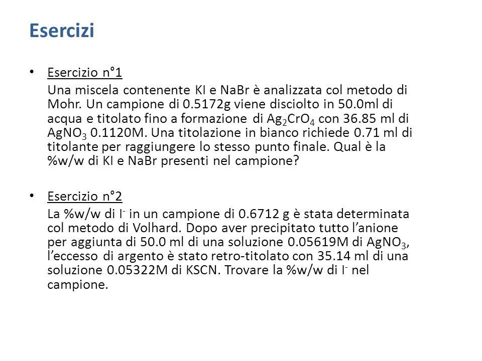 Esercizi Esercizio n°1 Una miscela contenente KI e NaBr è analizzata col metodo di Mohr.
