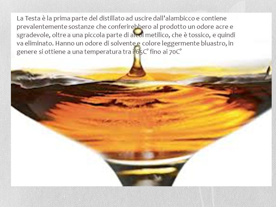 La Testa è la prima parte del distillato ad uscire dall'alambicco e contiene prevalentemente sostanze che conferirebbero al prodotto un odore acre e s