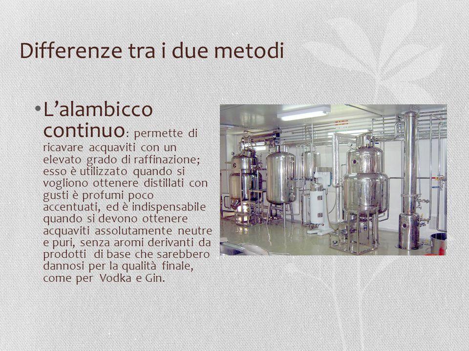 Differenze tra i due metodi L'alambicco continuo : permette di ricavare acquaviti con un elevato grado di raffinazione; esso è utilizzato quando si vo
