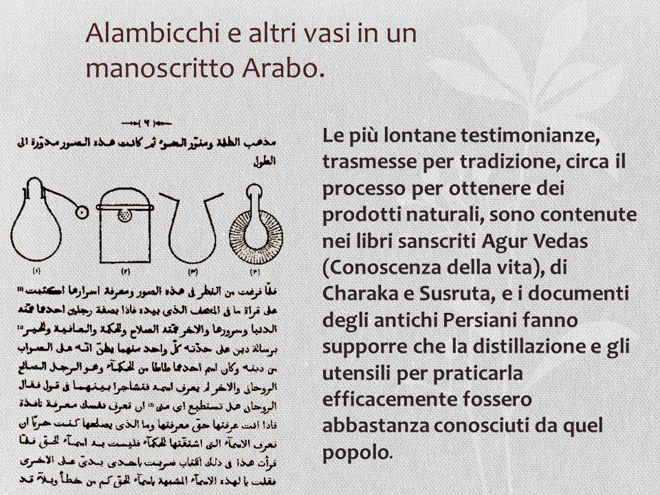 Alambicchi e altri vasi in un manoscritto Arabo. Le più lontane testimonianze, trasmesse per tradizione, circa il processo per ottenere dei prodotti n