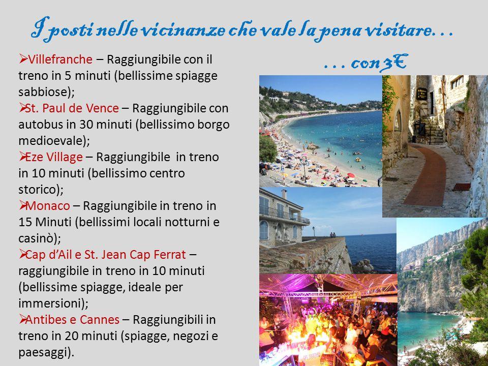 I posti nelle vicinanze che vale la pena visitare… …con 3€  Villefranche – Raggiungibile con il treno in 5 minuti (bellissime spiagge sabbiose);  St.