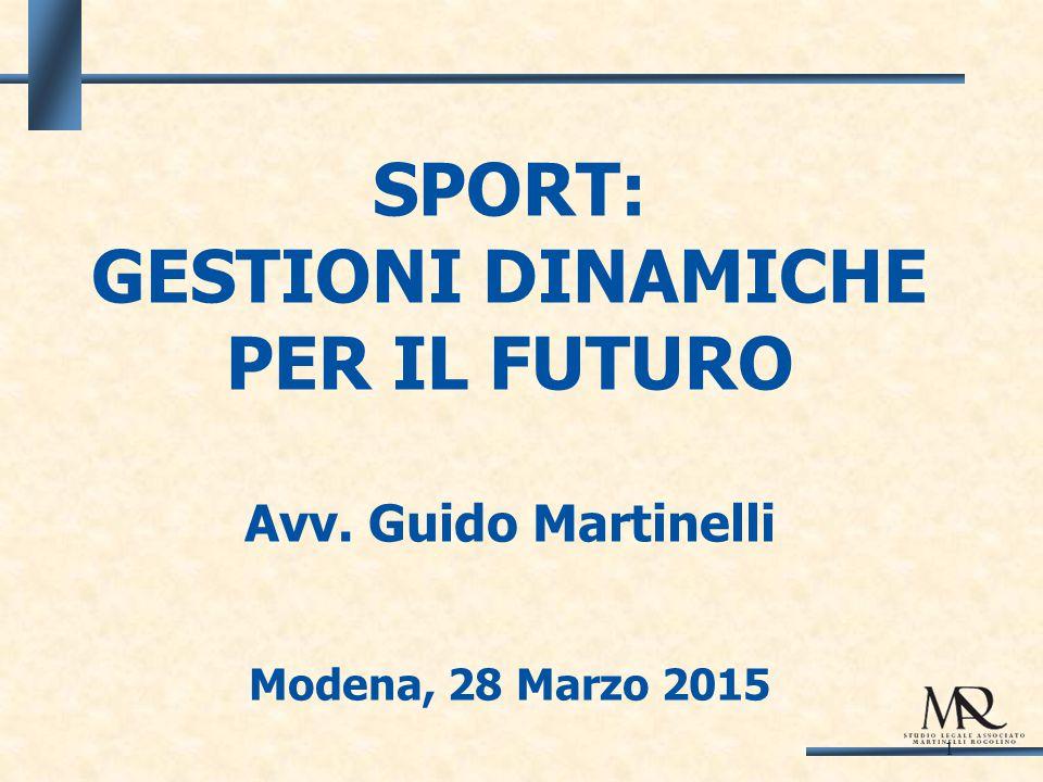1 SPORT: GESTIONI DINAMICHE PER IL FUTURO Avv. Guido Martinelli Modena, 28 Marzo 2015