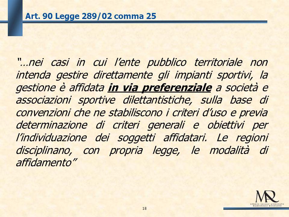 """Art. 90 Legge 289/02 comma 25 """"…nei casi in cui l'ente pubblico territoriale non intenda gestire direttamente gli impianti sportivi, la gestione è aff"""