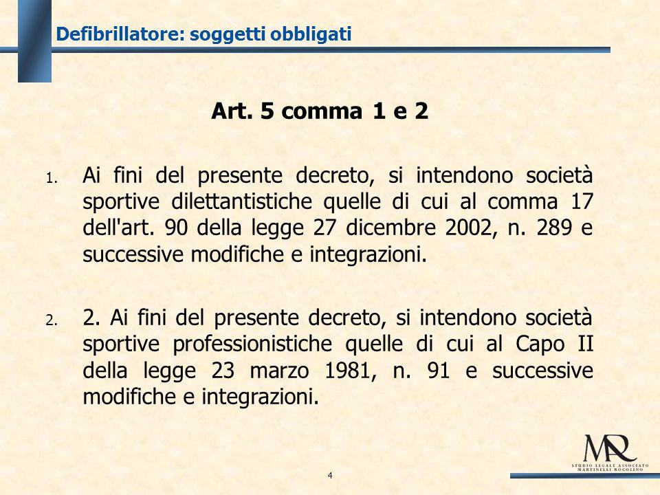 Defibrillatore: soggetti obbligati Art. 5 comma 1 e 2 1.