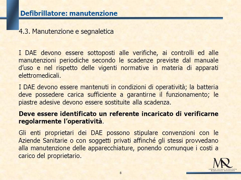 Defibrillatore: manutenzione 4.3.