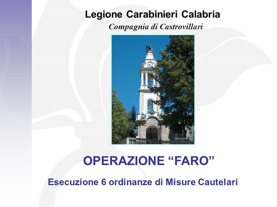 """Legione Carabinieri Calabria Compagnia di Castrovillari OPERAZIONE """"FARO"""" Esecuzione 6 ordinanze di Misure Cautelari"""