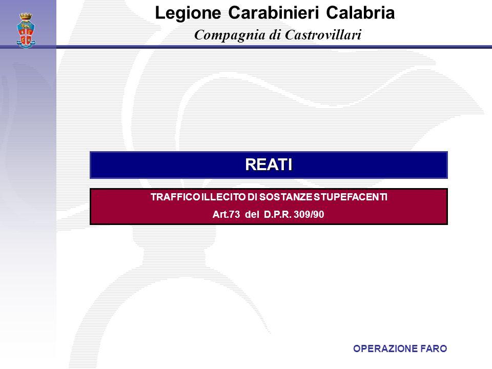 TRAFFICO ILLECITO DI SOSTANZE STUPEFACENTI Art.73 del D.P.R. 309/90 REATI Legione Carabinieri Calabria Compagnia di Castrovillari OPERAZIONE FARO