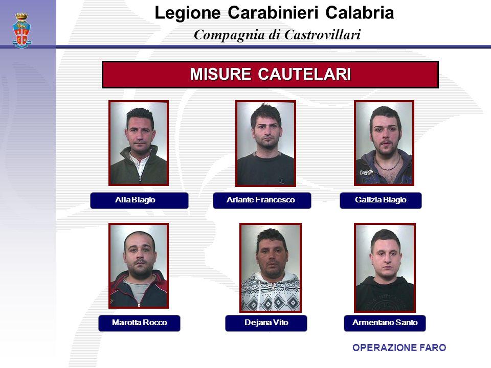 Legione Carabinieri Calabria Compagnia di Castrovillari Alia Biagio MISURE CAUTELARI OPERAZIONE FARO Ariante Francesco Armentano SantoDejana Vito Gali