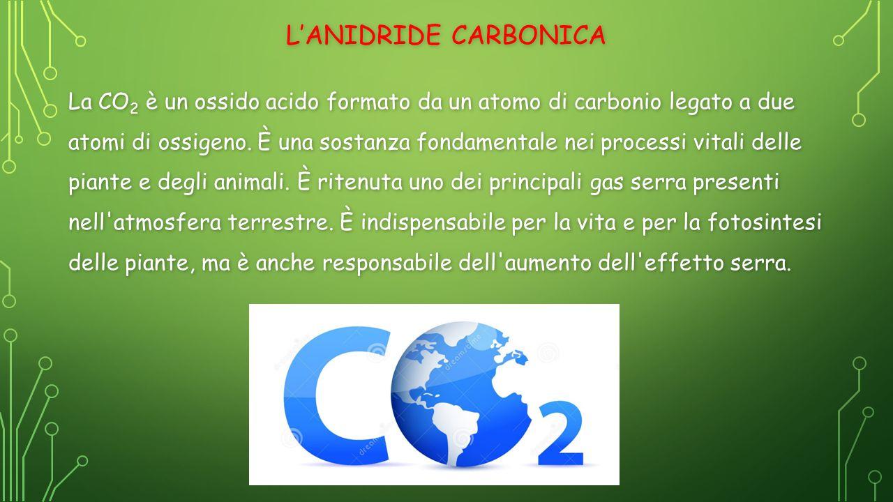CARATTERISTICHE DELL'ANIDRIDE CARBONICA La sua temperatura di fusione è 194,7 K (−78,5 °C), mentre la temperatura di ebollizione è 216,59 K (−56,56 °C).
