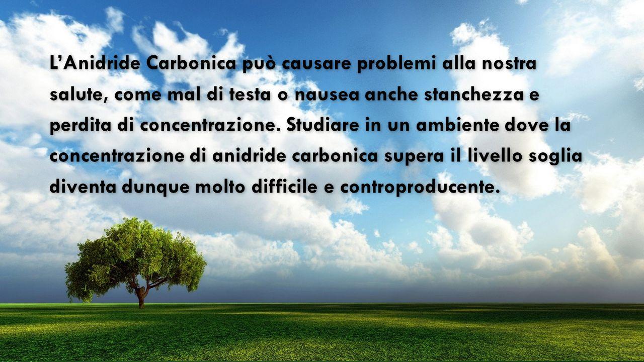 L'Anidride Carbonica può causare problemi alla nostra salute, come mal di testa o nausea anche stanchezza e perdita di concentrazione.