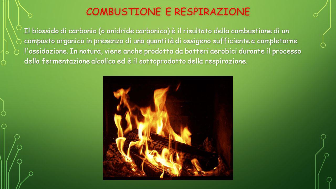 COMBUSTIONE E RESPIRAZIONE Il biossido di carbonio (o anidride carbonica) è il risultato della combustione di un composto organico in presenza di una quantità di ossigeno sufficiente a completarne l ossidazione.