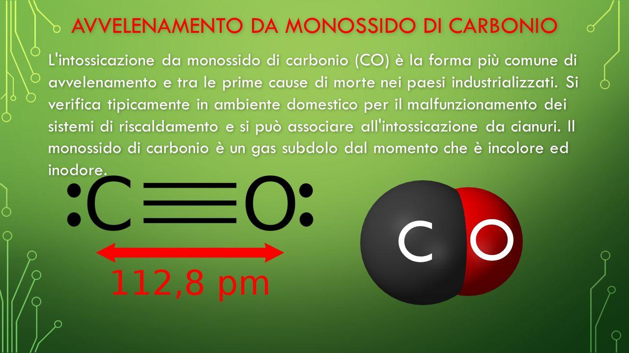 AVVELENAMENTO DA MONOSSIDO DI CARBONIO L intossicazione da monossido di carbonio (CO) è la forma più comune di avvelenamento e tra le prime cause di morte nei paesi industrializzati.