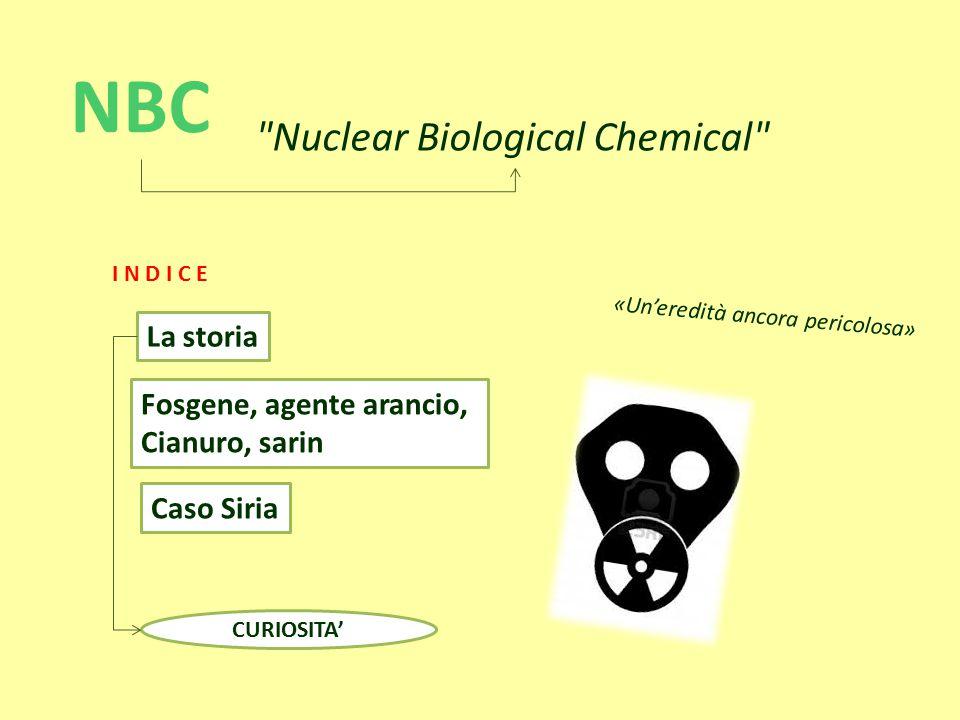 Fosgene, agente arancio, Cianuro, sarin Caso Siria La storia NBC Nuclear Biological Chemical «Un'eredità ancora pericolosa» CURIOSITA' I N D I C E
