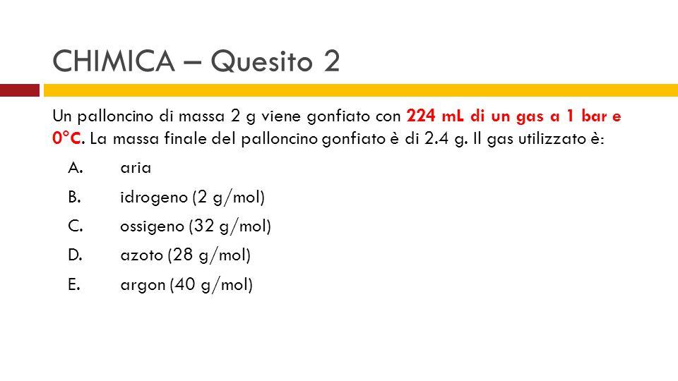 Un palloncino di massa 2 g viene gonfiato con 224 mL di un gas a 1 bar e 0°C. La massa finale del palloncino gonfiato è di 2.4 g. Il gas utilizzato è: