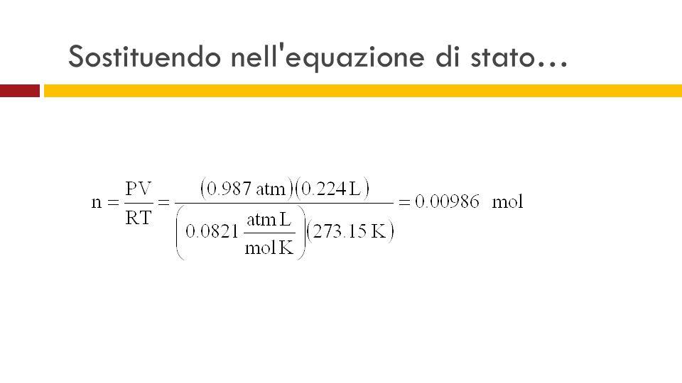 Sostituendo nell equazione di stato…