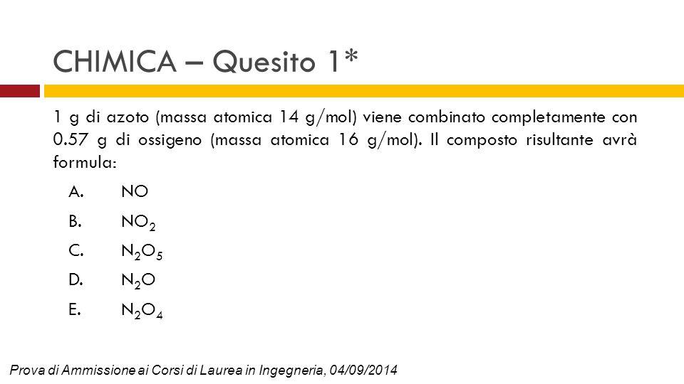 CHIMICA – Quesito 1* 1 g di azoto (massa atomica 14 g/mol) viene combinato completamente con 0.57 g di ossigeno (massa atomica 16 g/mol). Il composto