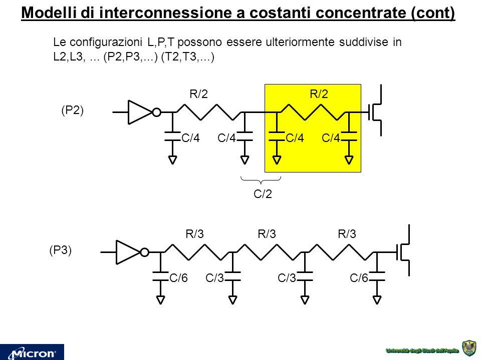 Modelli di interconnessione a costanti concentrate (cont) Le configurazioni L,P,T possono essere ulteriormente suddivise in L2,L3,... (P2,P3,...) (T2,