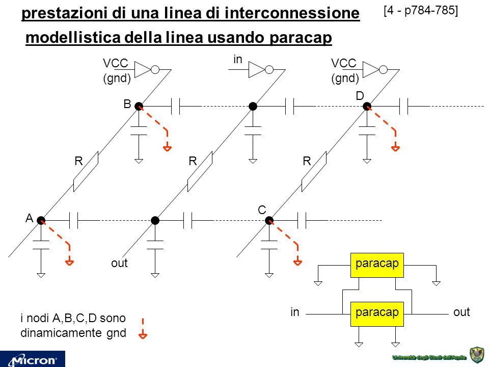 prestazioni di una linea di interconnessione [4 - p784-785] RRR in out VCC (gnd) VCC (gnd) A B C D i nodi A,B,C,D sono dinamicamente gnd paracap inout
