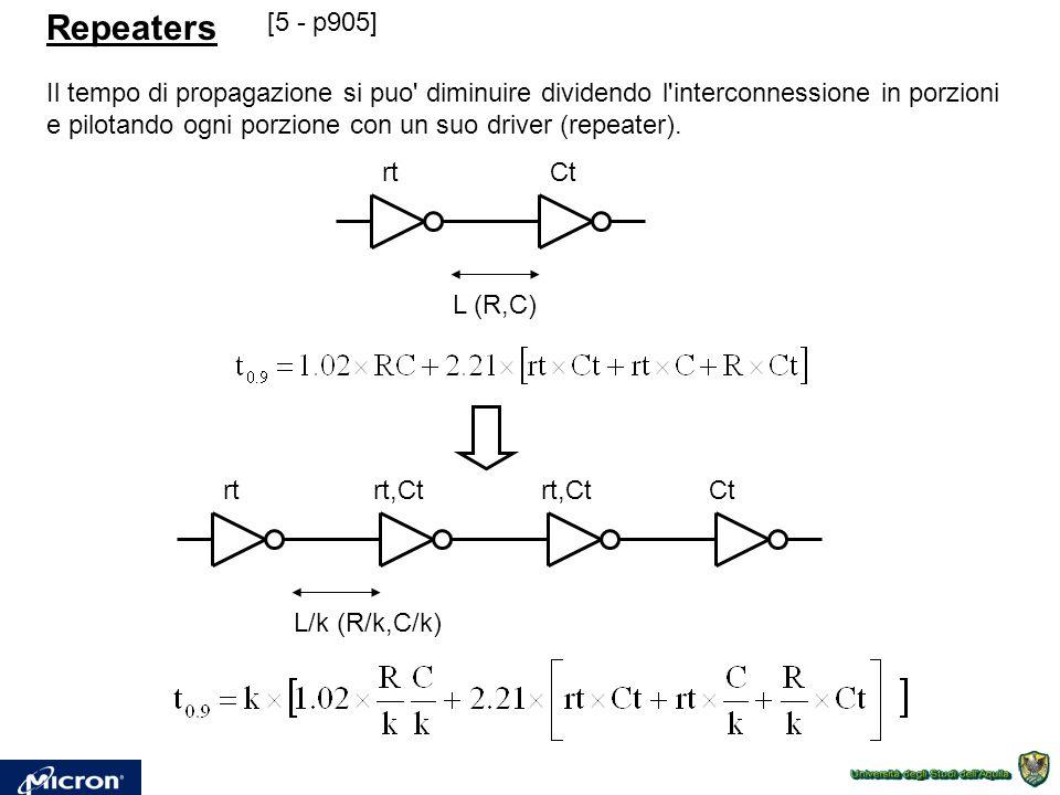 Repeaters Il tempo di propagazione si puo diminuire dividendo l interconnessione in porzioni e pilotando ogni porzione con un suo driver (repeater).