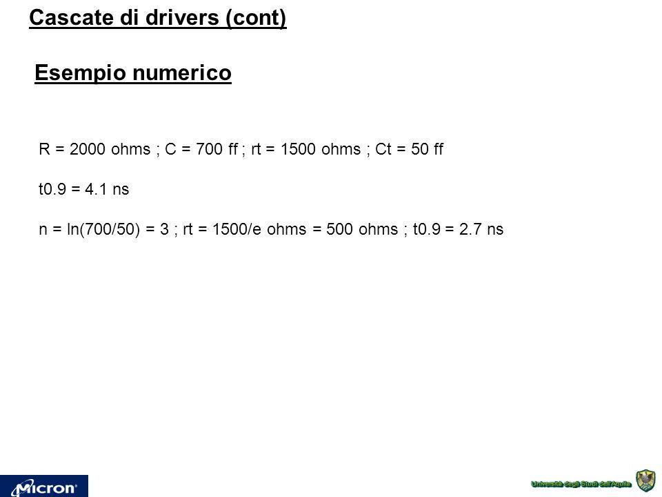 Cascate di drivers (cont) Esempio numerico R = 2000 ohms ; C = 700 ff ; rt = 1500 ohms ; Ct = 50 ff t0.9 = 4.1 ns n = ln(700/50) = 3 ; rt = 1500/e ohms = 500 ohms ; t0.9 = 2.7 ns