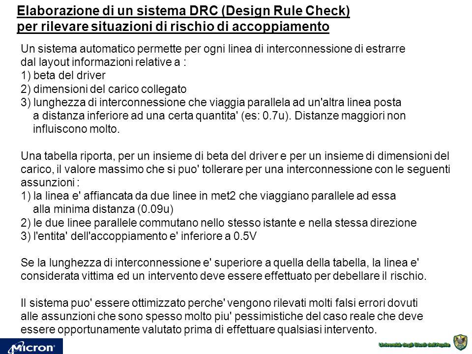 Elaborazione di un sistema DRC (Design Rule Check) per rilevare situazioni di rischio di accoppiamento Un sistema automatico permette per ogni linea d