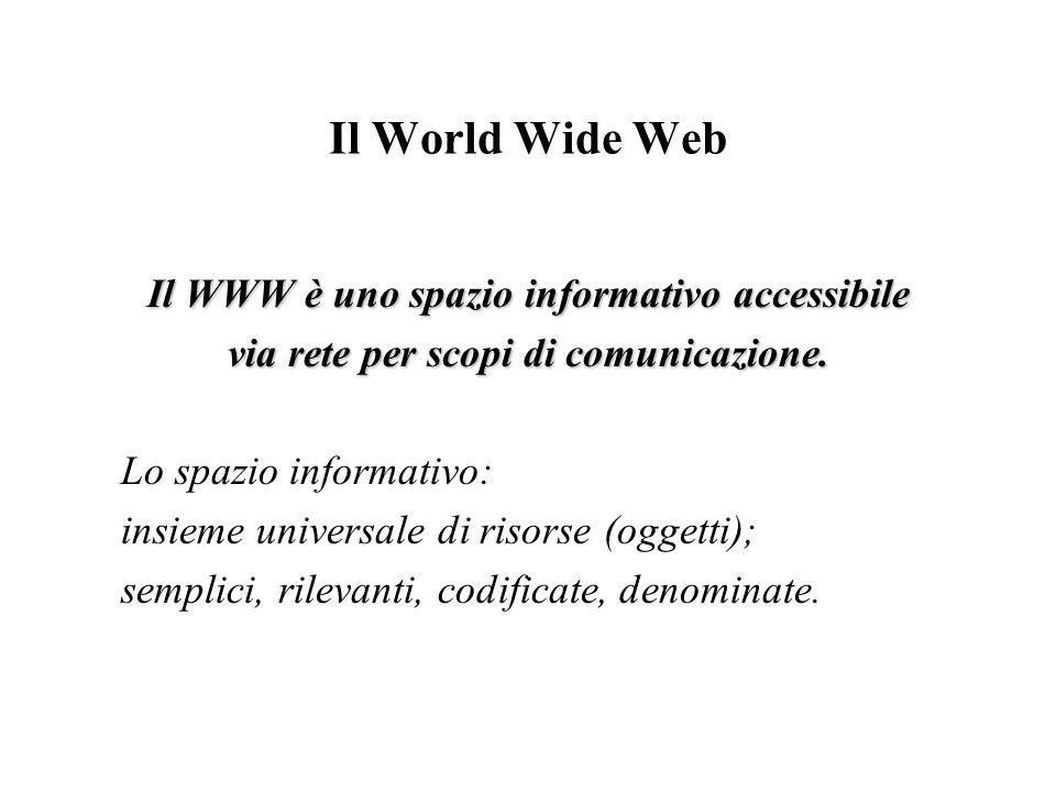 Il World Wide Web Il WWW è uno spazio informativo accessibile via rete per scopi di comunicazione. Lo spazio informativo: insieme universale di risors