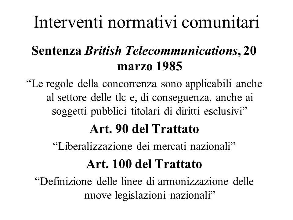 Interventi normativi comunitari Sentenza British Telecommunications, 20 marzo 1985 Le regole della concorrenza sono applicabili anche al settore delle tlc e, di conseguenza, anche ai soggetti pubblici titolari di diritti esclusivi Art.