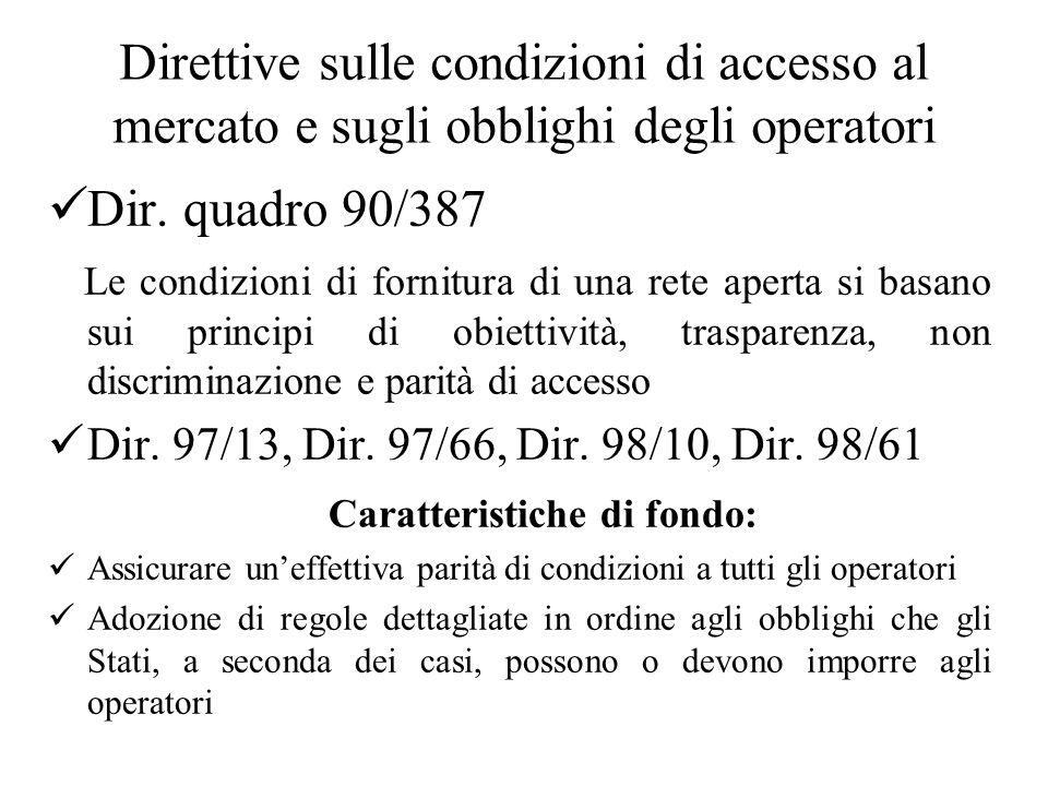 Direttive sulle condizioni di accesso al mercato e sugli obblighi degli operatori Dir.