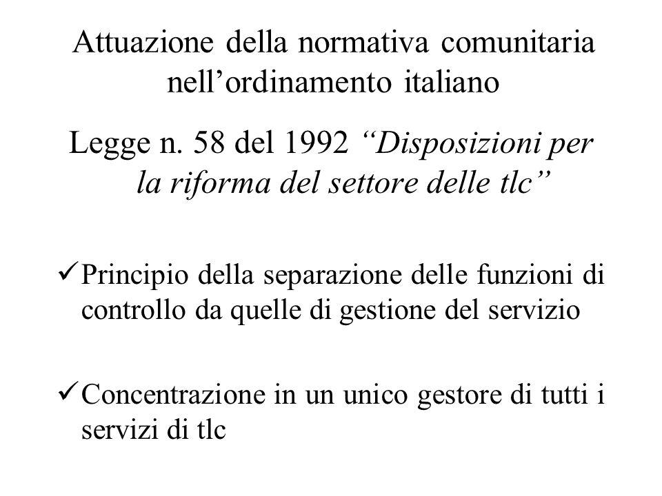 Attuazione della normativa comunitaria nell'ordinamento italiano Legge n.