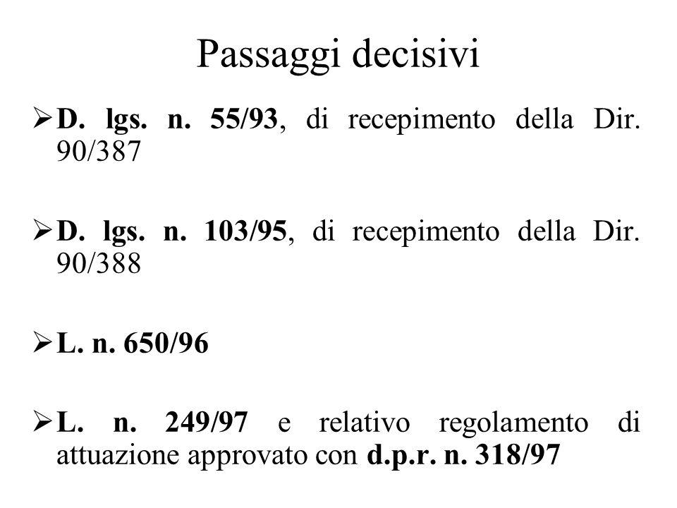 Passaggi decisivi  D. lgs. n. 55/93, di recepimento della Dir.