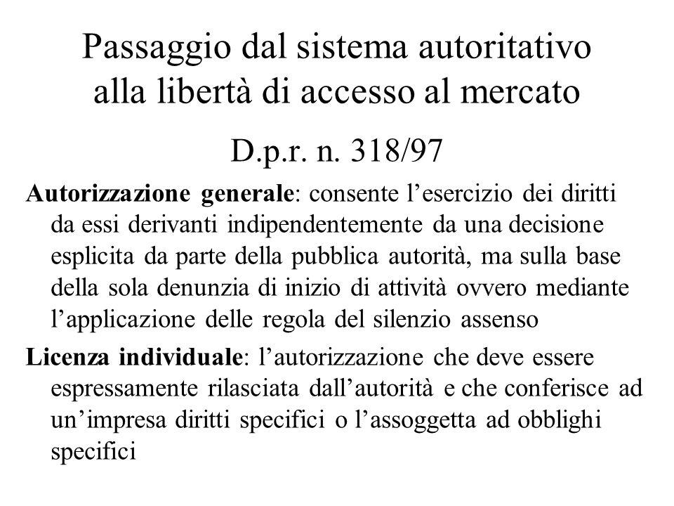 Passaggio dal sistema autoritativo alla libertà di accesso al mercato D.p.r.