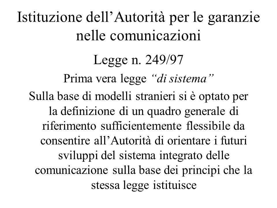 Istituzione dell'Autorità per le garanzie nelle comunicazioni Legge n.