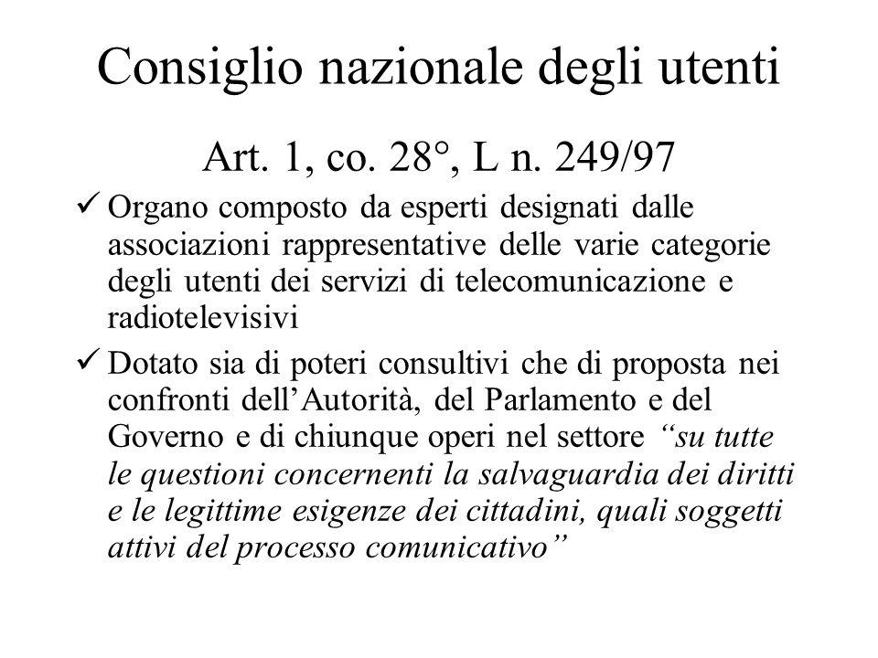 Consiglio nazionale degli utenti Art. 1, co. 28°, L n.