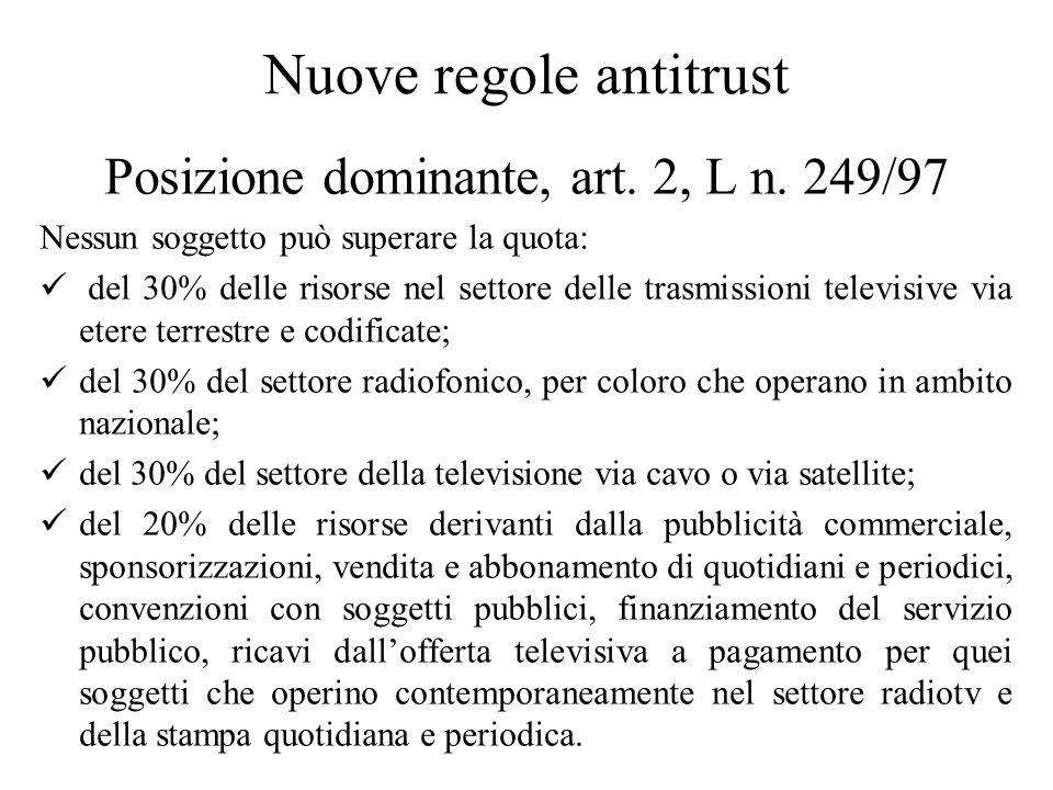 Nuove regole antitrust Posizione dominante, art. 2, L n.