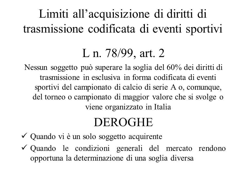 Limiti all'acquisizione di diritti di trasmissione codificata di eventi sportivi L n.