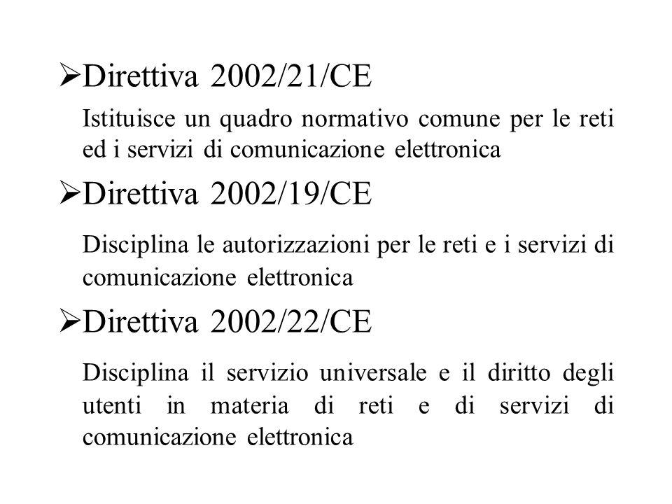  Direttiva 2002/21/CE Istituisce un quadro normativo comune per le reti ed i servizi di comunicazione elettronica  Direttiva 2002/19/CE Disciplina le autorizzazioni per le reti e i servizi di comunicazione elettronica  Direttiva 2002/22/CE Disciplina il servizio universale e il diritto degli utenti in materia di reti e di servizi di comunicazione elettronica