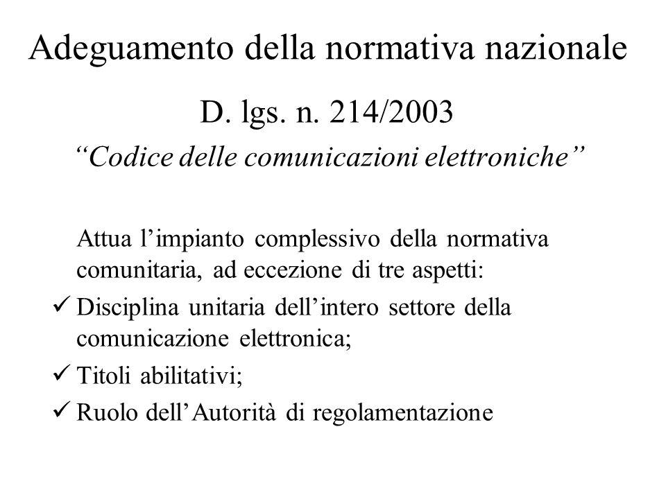 Adeguamento della normativa nazionale D. lgs. n.